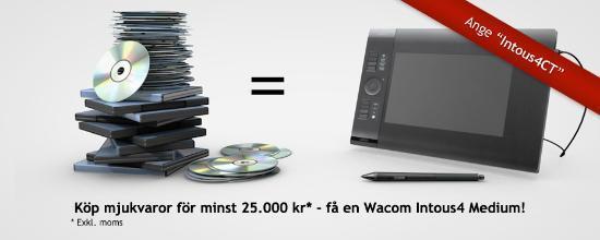 Handla mjukvara för 25.000 kr – få en Wacom Intous4 på köpet