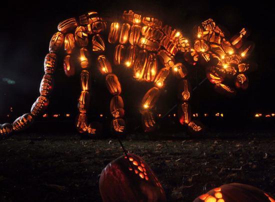 Dinosaurie av Halloween-pumpor