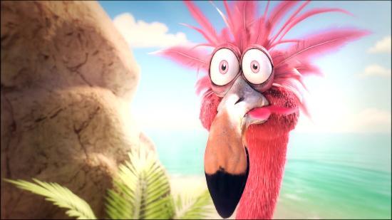 Underbar kortfilm med flamingo på paradisö