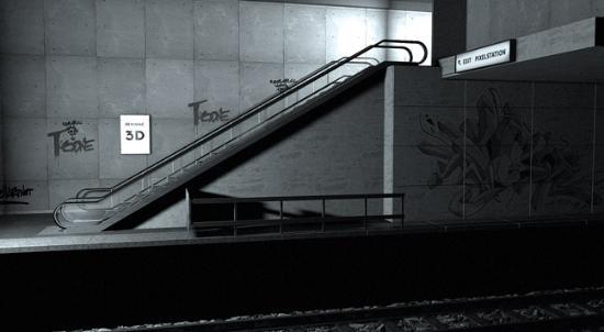 Fri Cinema 4D-modell av tunnelbanestation