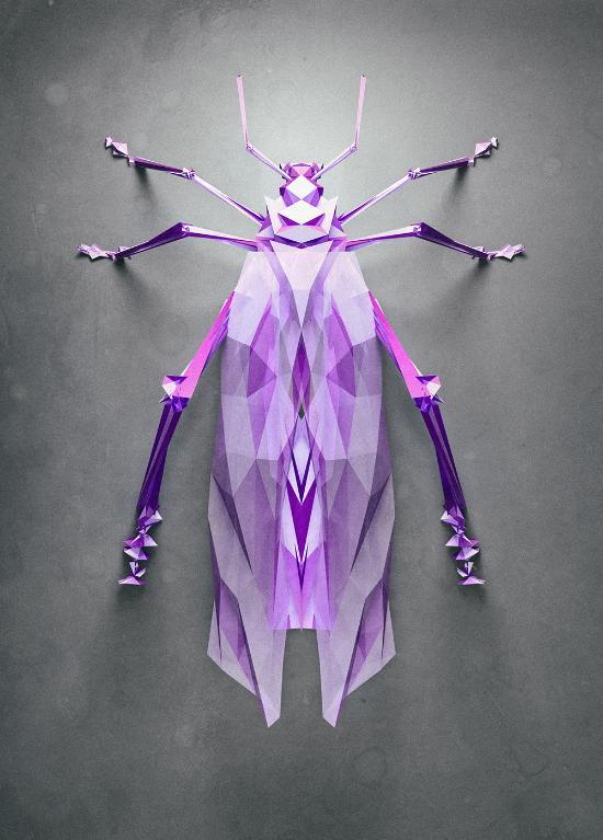 Slumpmässigt genererade polygon-insekter