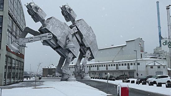 En snöig vinterdag i Århus, Danmark