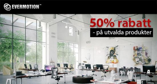 Evermotion – 50% rabatt på utvalda produkter