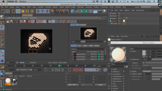 Textur animerar och ljussätter Cinema 4D-scen