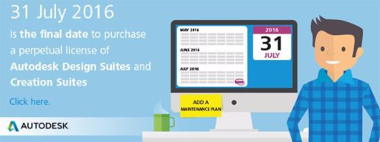 Den 31 juli 2016 – slutdatum för permanenta Autodesk Suite-licenser