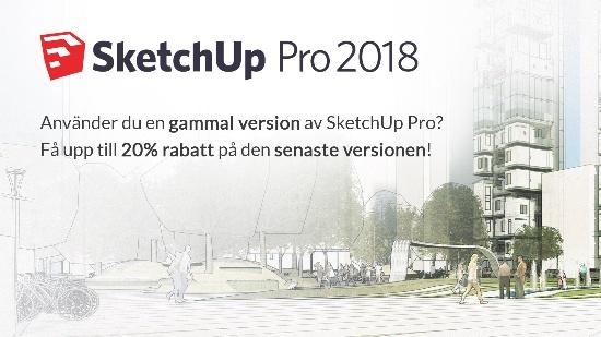 Upp till 20% rabatt på en ny licens av SketchUp Pro