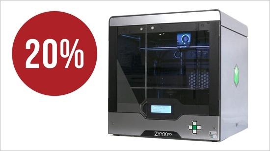 Nu 20% rabatt på 3D-skrivaren ZYYX pro
