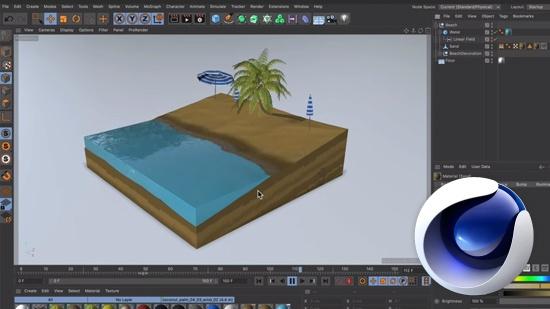Våt sandstrand med Cinema 4D och Fields
