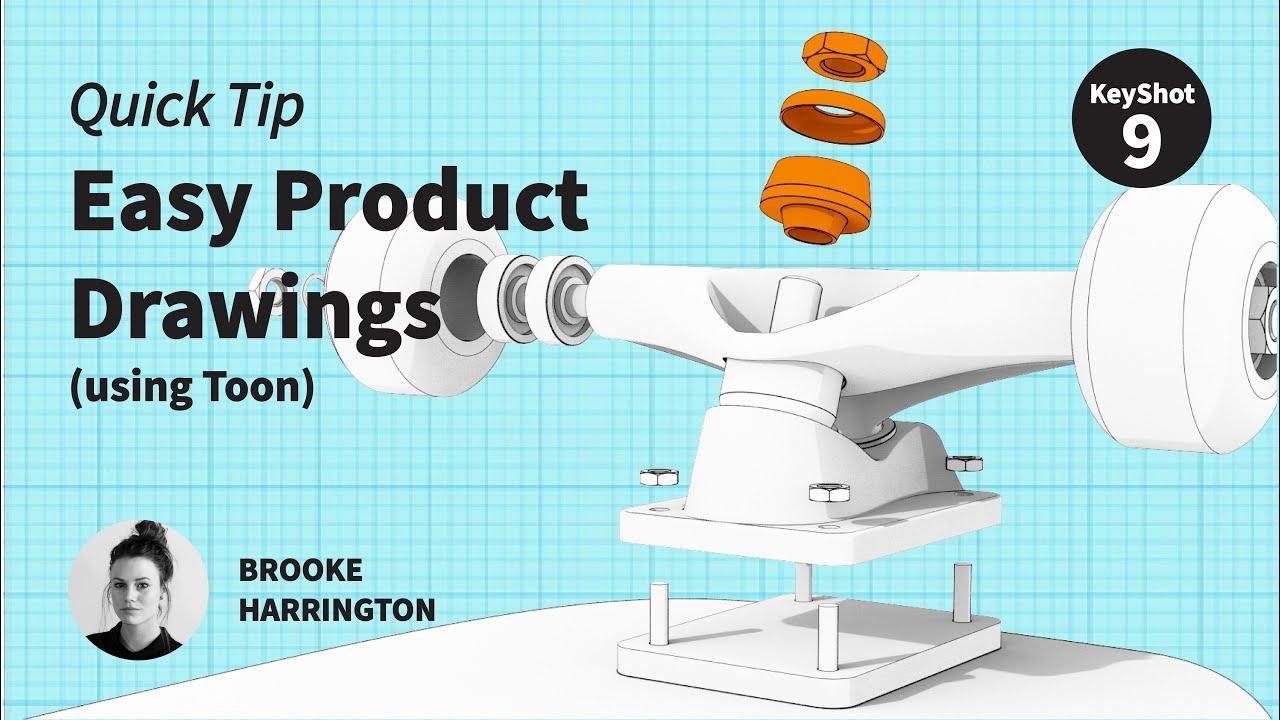 Easy product drawings using KeyShot Toon material