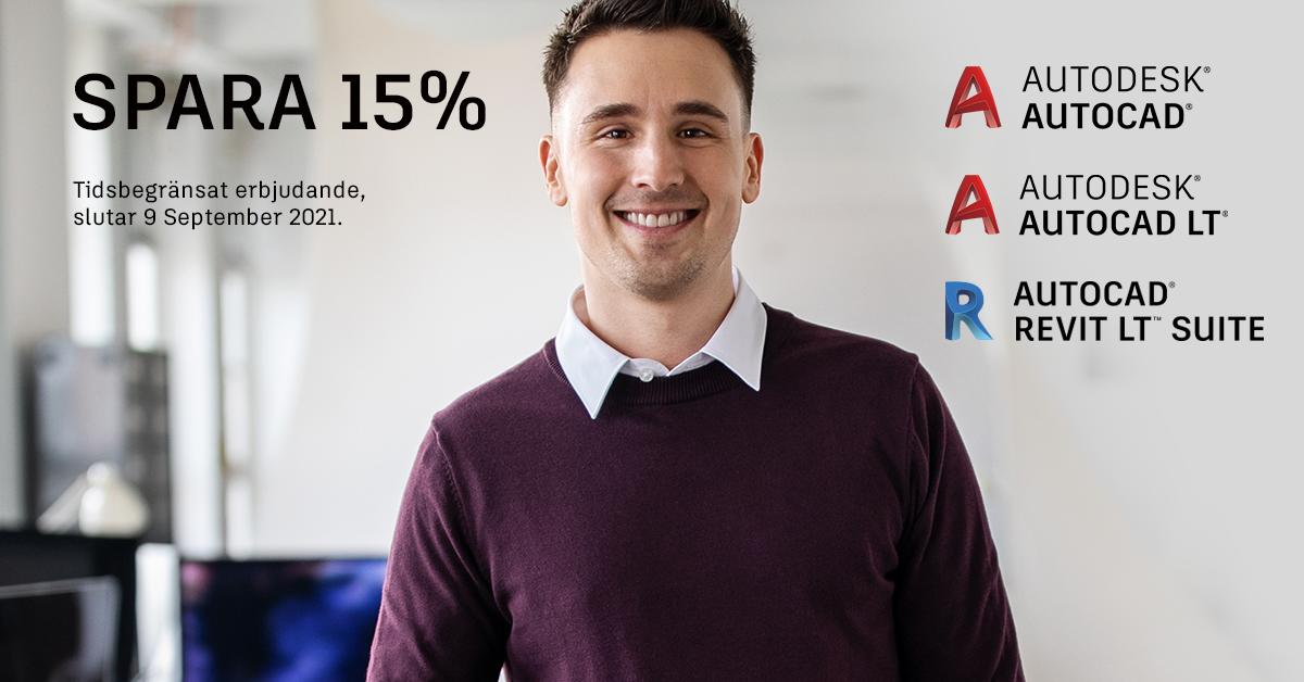 Spara 15% på AutoCAD, AutoCAD LT och Revit LT Suite
